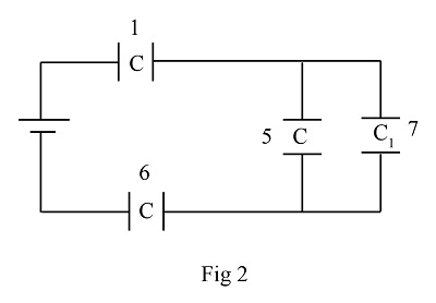 Determine the equivalent capacitance for the group of 7