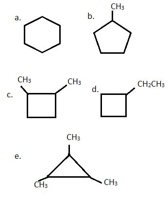 Draw and name five cycloalkanes with the molecular formula