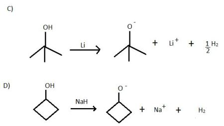Draw the alkoxide and counterion formed in each of the