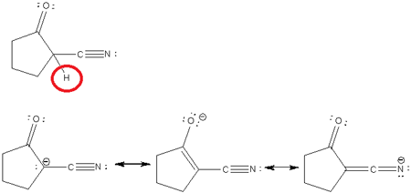 Indicate the most acidic hydrogens and draw the important