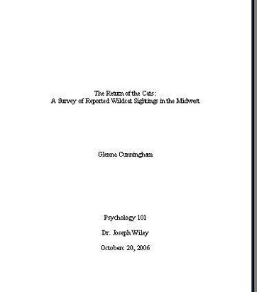 mla format research paper cover page