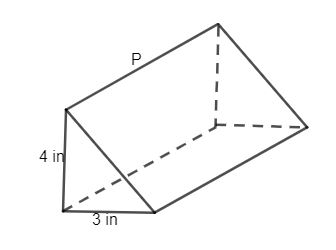 Find the value of p of the right triangular prism if the