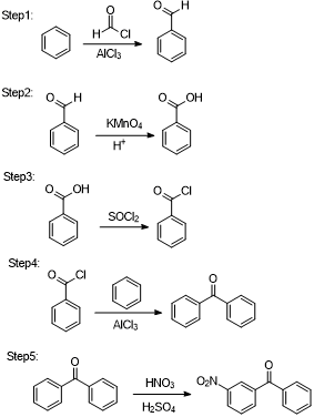 Complete the syntheses show below using benzene and any