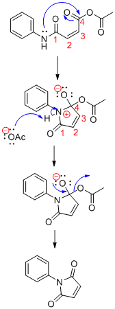 The reaction mechanism for the conversion of maleanilic