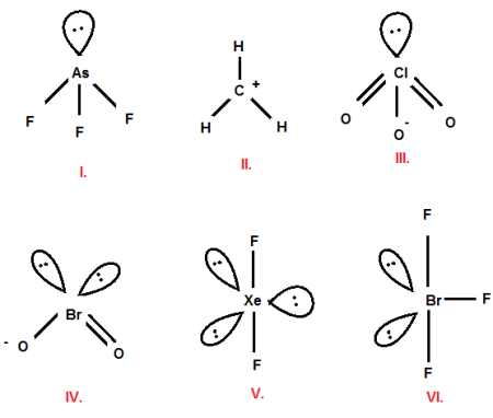 Predict the Electron-domain geometry of: AsF3, CH3+, BrF3