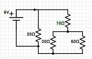 Four resistors and a 6-V battery are arranged as shown in