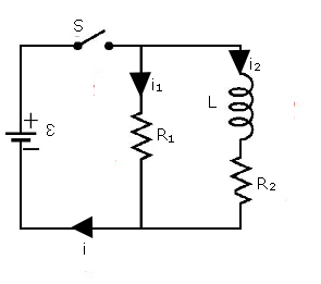 In the diagram is shown an RL circuit with a switch. E1