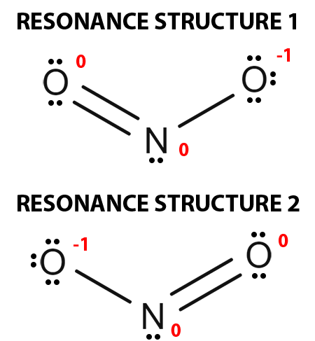 Draw all possible resonance structures for NO2-. Determine the formal charge on each atom in each of the resonance structures.   Study.com