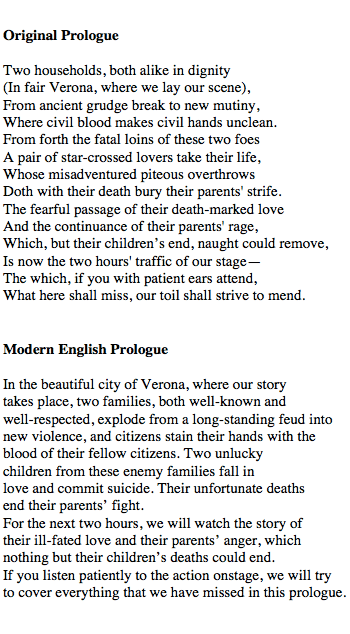 Prologue Of Romeo And Juliet Translation In Modern