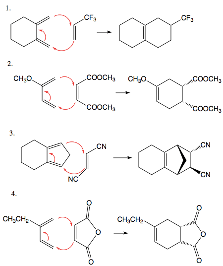 Give the products of the following Diels-Alder reactions