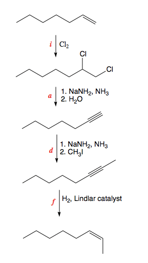 Propose a synthesis of cis-2-octene starting from 1