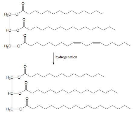 For a structure of a triglyceride that contains one