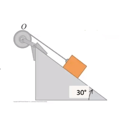 An 8 \\ kg mass is initially at rest on a 30^o frictionless incline; it is attached to a hoop-shaped 5 \\ kg pulley of radius 25.0 \\ cm by a mass ...
