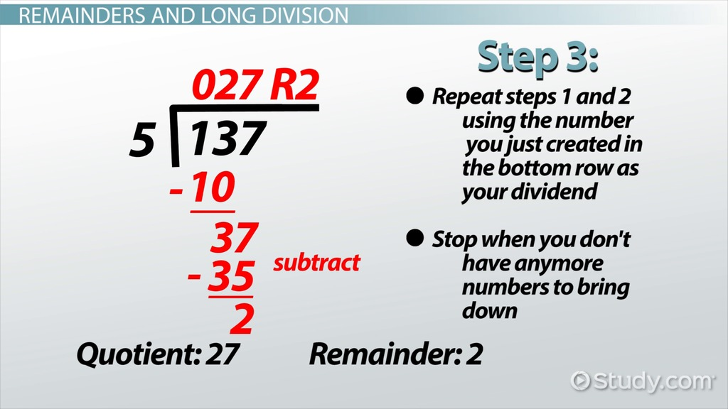 Remainder In Math Definition & Example Video & Lesson Transcript
