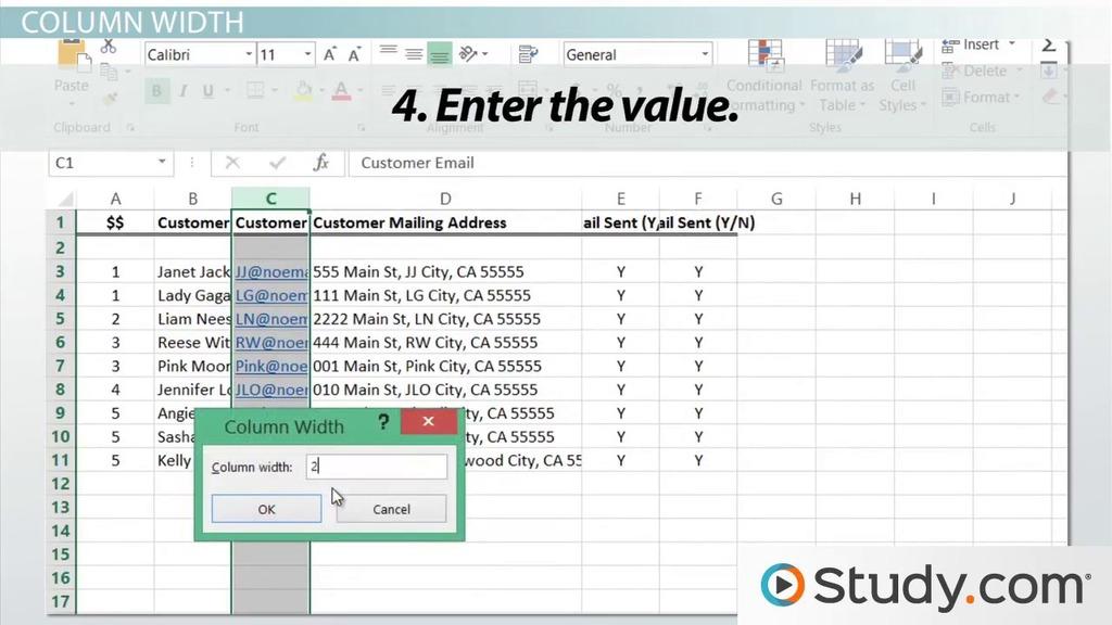 Adjusting Column Width & Row Height In Excel Video