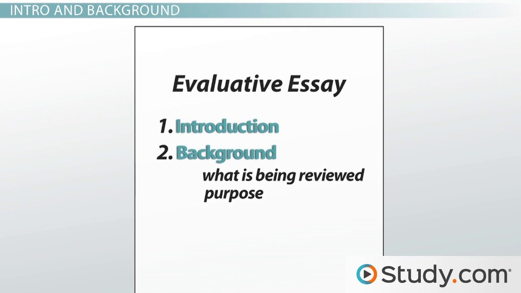 Evaluative Essay Examples Format & Characteristics Video