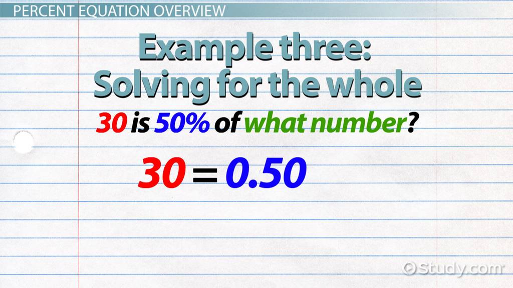 Percent Equation Definition & Example Video & Lesson