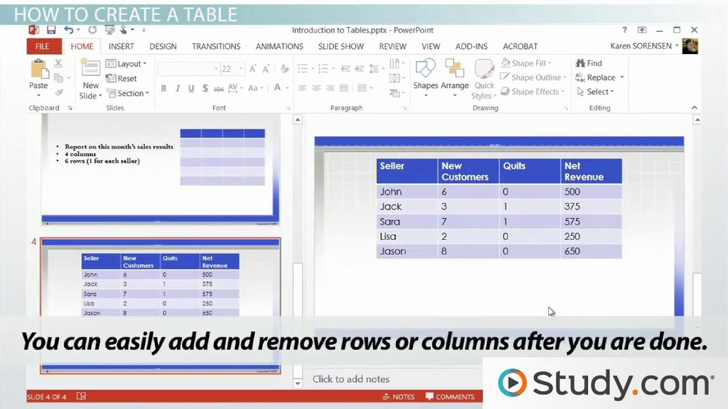 Introduction To Tables In PowerPoint Video & Lesson