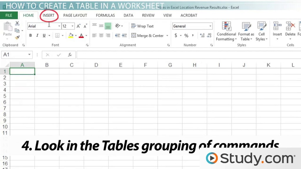 How To Create A Table In An Excel Worksheet