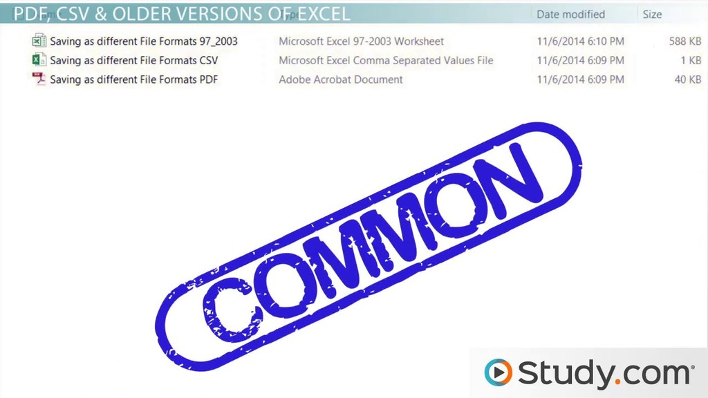 How to Save Excel Workbook Files in Different Formats - Video ...