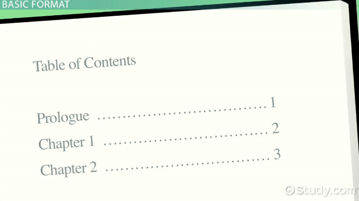 Table Of Contents Examples And Format Video & Lesson