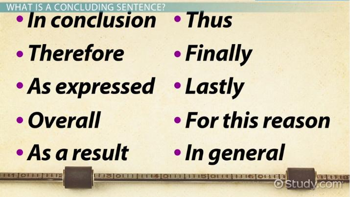 Concluding Sentence Definition Examples & Starters Video