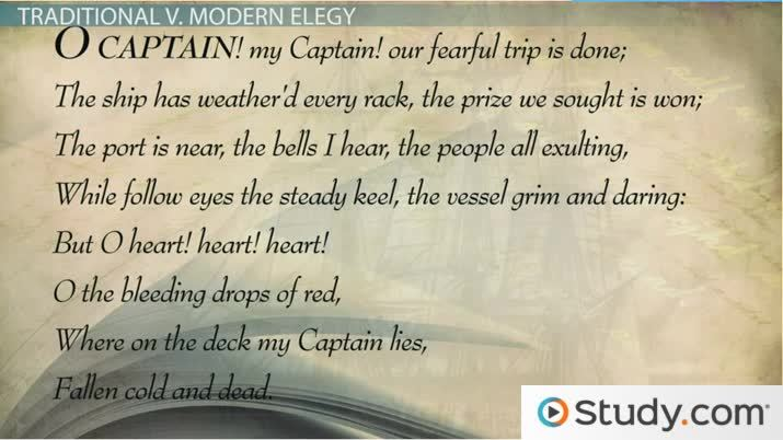 Elegy Poems Definition & Examples Video & Lesson