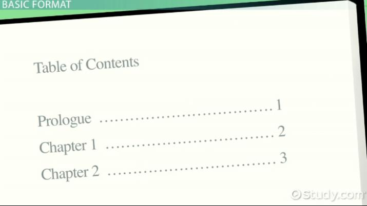 Table Of Contents Examples And Format Video & Lesson Transcript
