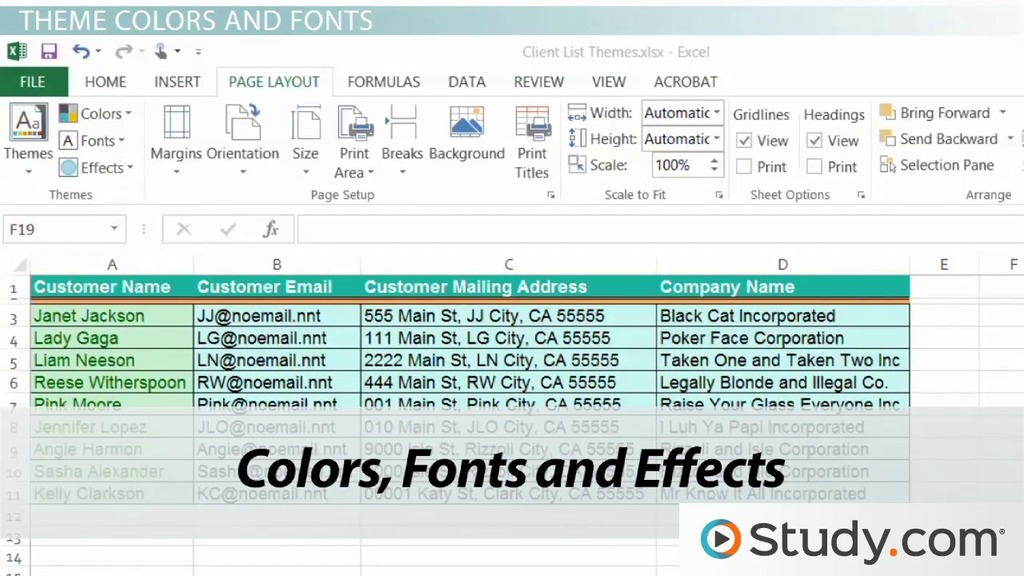 Workbook Themes Applying & Changing Themes In Excel