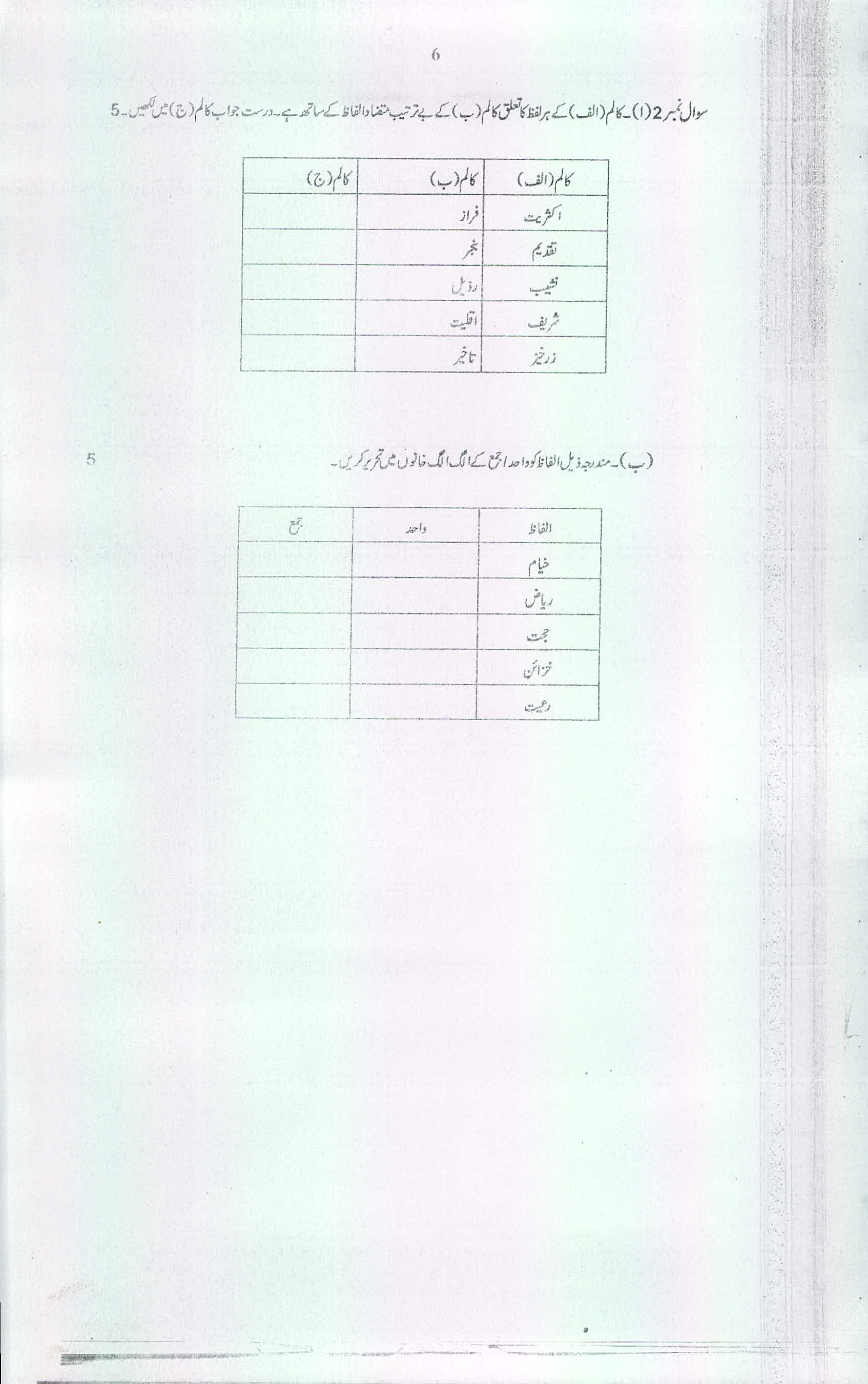 9th class Model Paper BISE Multan