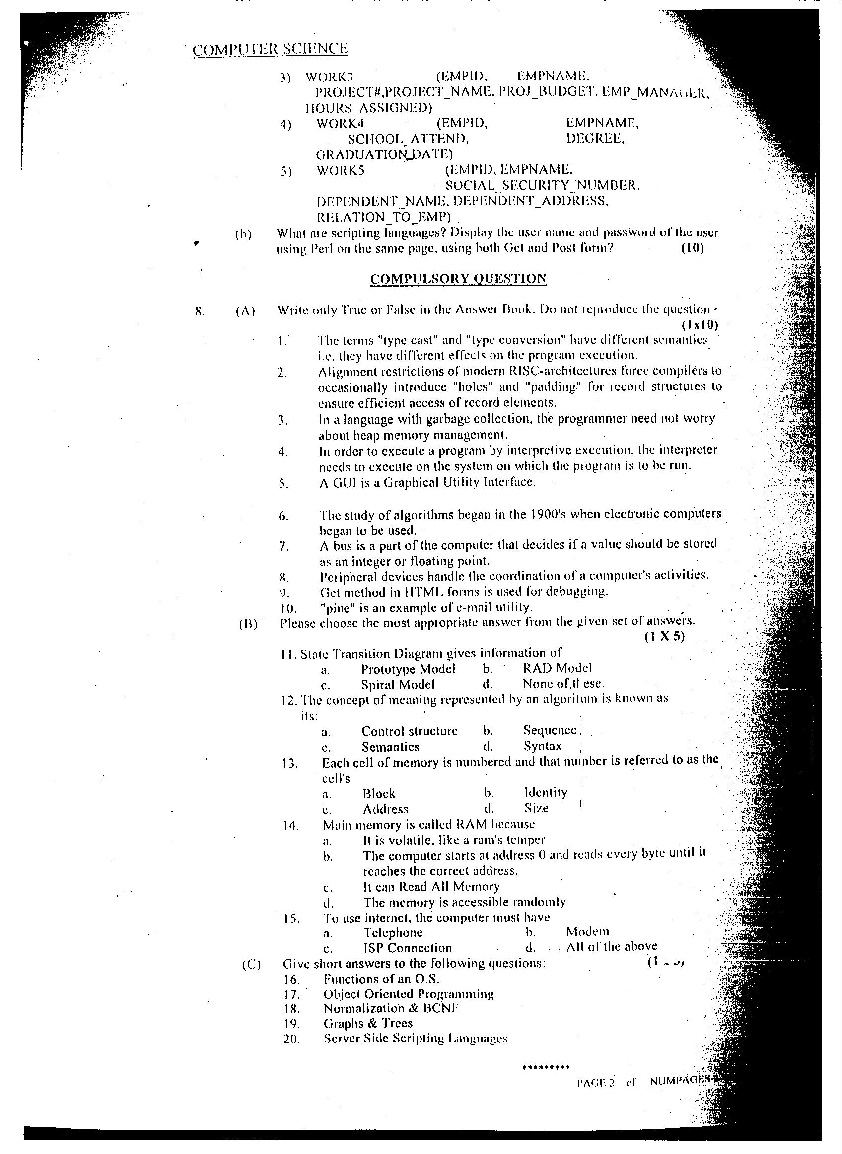 Computer Science css old papers
