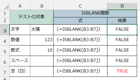 ISBLANK関数の使用例2
