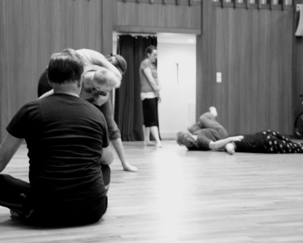 """There are movers and witnesses, but everyone is part of the snapshot. Everyone is in the picture."" A workshop leader used a method similar to Authentic Movement by asking groups of four to take turns moving and observing 