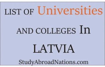 Full List of universities and colleges in Latvia