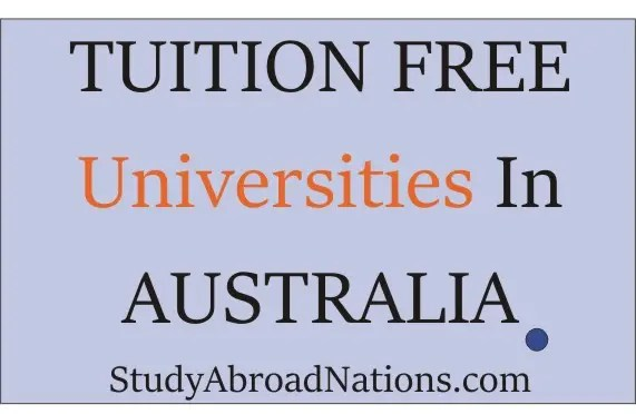 tuition free universities in Australia
