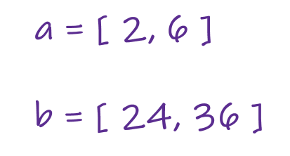 example test case to find integers between two sets