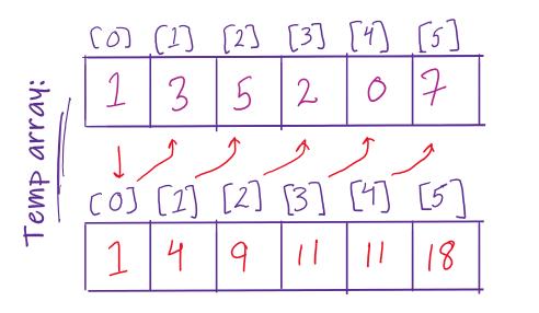cumulative sums