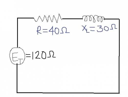 In a series rl circuit, et = 120 v, r = 40 ω, and xl = 30