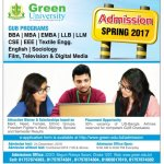 Green University Admission Spring Semester 2017