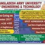 Bangladesh Army University of Science and Technology Rajshahi Admission Fall 2017