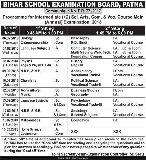bseb-class-12-time-table