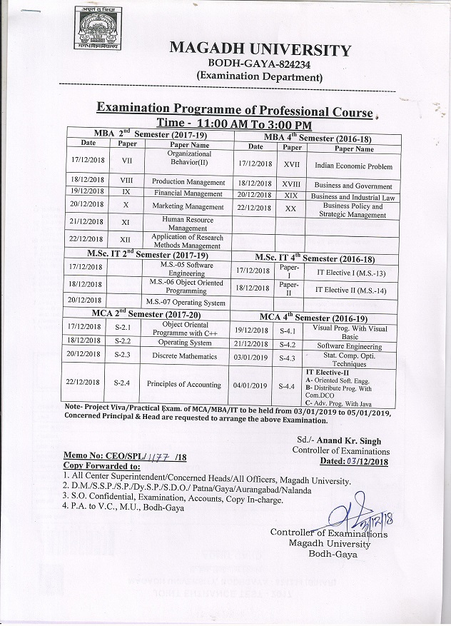 Magadh university Examination routine