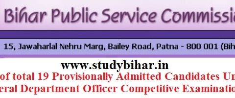 Download List of Candidates 19 Provisionally Admitted Candidates Under Mineral Department Com. Exam.