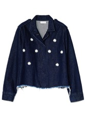 A Common Space: Daisies Frayed Denim Jacket, $75