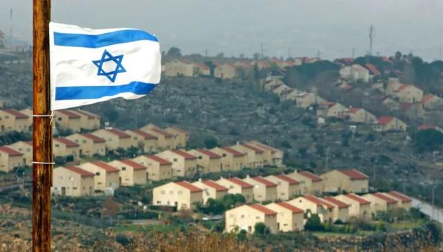 An Israeli flag near the West Bank