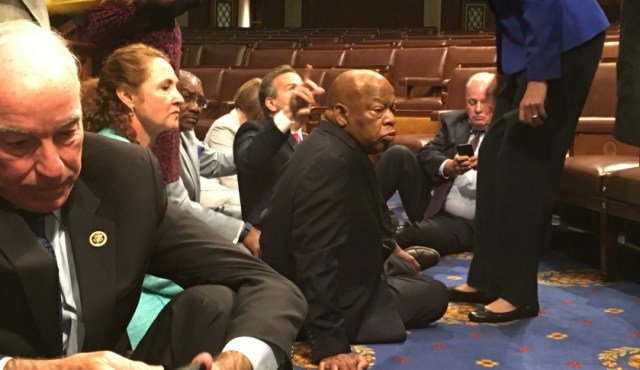 Democrats waging sit-in to demand gun vote.