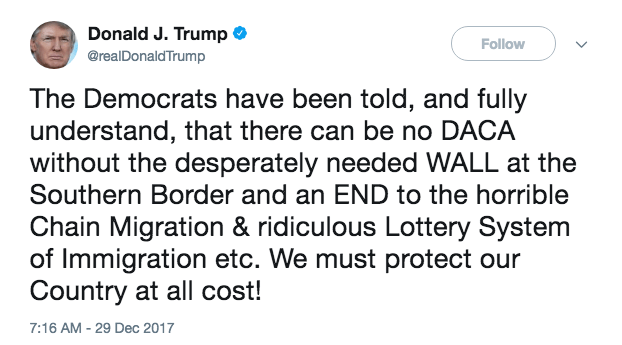 DACA was a done deal until Trump's ego came into the equation