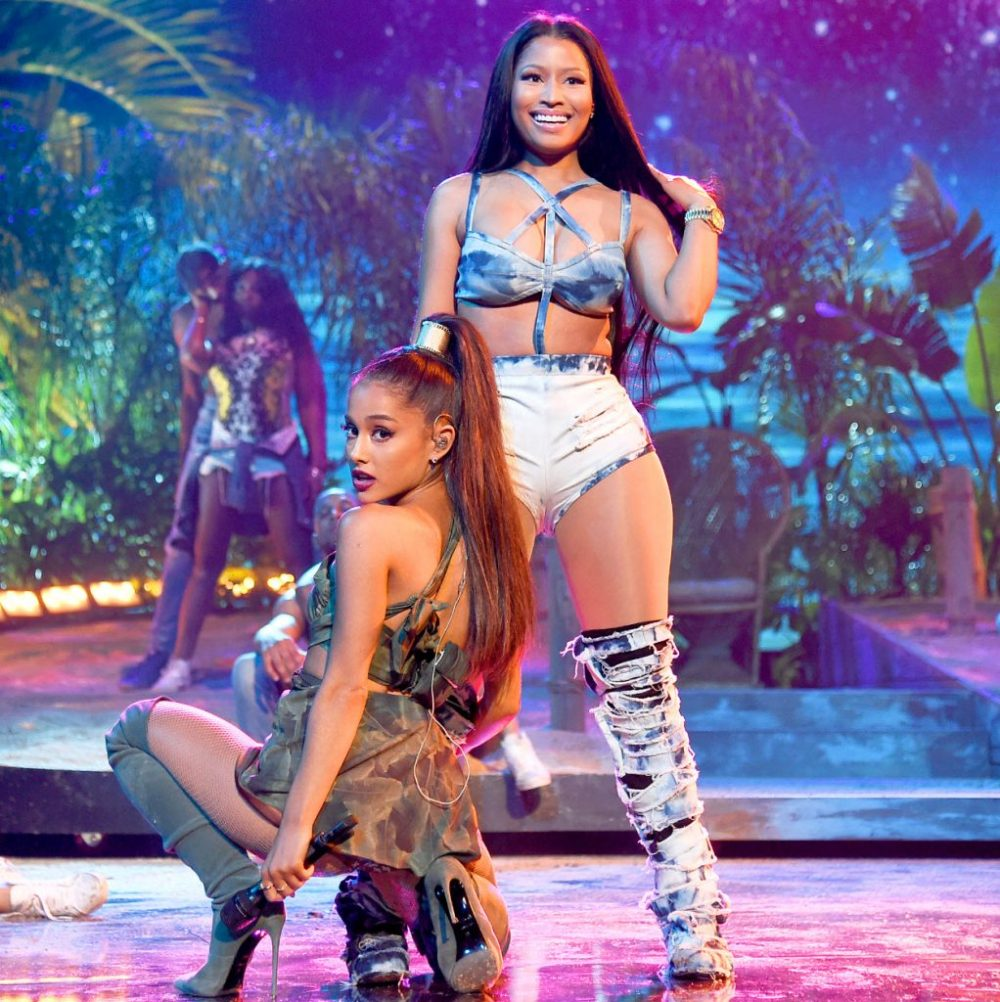 Ariana Grande And Nicki Minaj Shared The Stage At 2016 AMAs Performing Their Hit Side To Image Via Usmagazine