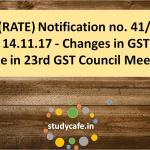 CGST(RATE) Notification no. 41/2017 - Changes in GST rates made in 23rd GST Council Meeting