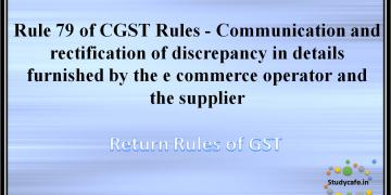 Rule 79 of CGST Rules -Communication and rectification of discrepancy in details furnished by the e commerceoperator and the supplier